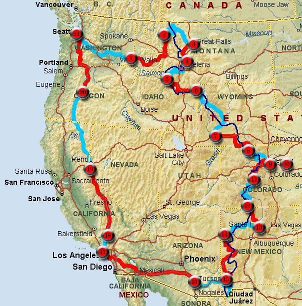 The Great Divide Tour Introduction - Us continental divide map